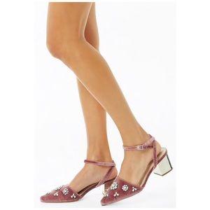 Shoes - Pink Embellished velvet block heels